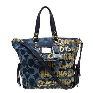 COACH Signature Canvas Poppy Graffiti Glam Tote